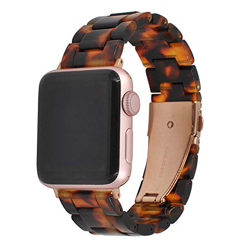 Cywulin Resin Band Compatible with Apple Watch Band 38mm 42mm 40mm 44mm Series 4/3/2/1 with Stainless Steel Buckle, iWatch Replacement Copper Wristband Link Strap Bracelet Women Men (38mm/40mm, E) ()