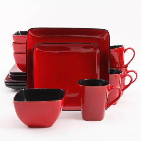 (Better Homes and Gardens 32-Piece Square Dinnerware Set, Red)