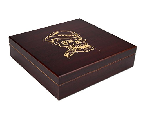 Personalized Squire Desktop Humidor 20 Cigar Travel Humidor - The Squire, Custom Laser Engraved, Cherry Colored Wood, Smoking (Engraved Cherry Wood Humidor)