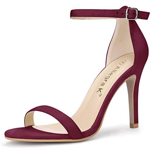 Allegra K Women's Open Toe Stiletto High Heel Ankle Strap Burgundy Sandals - 5 M - 3/4 5 Stiletto Heel Inch High