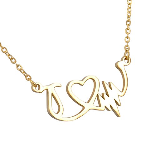 Stainless Steel Love U Pendant Necklace (Gold Plated) - 7