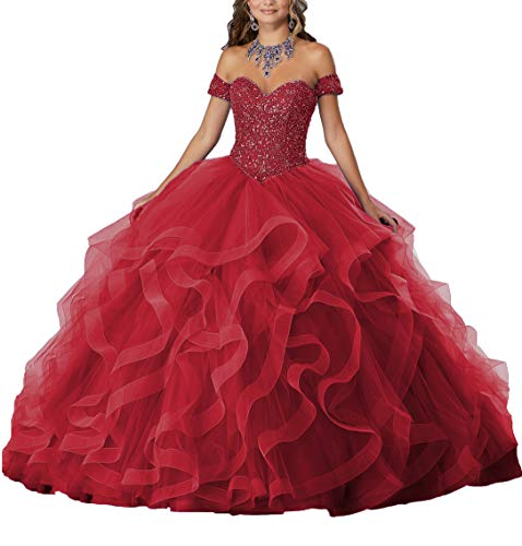 Yisha Bello Women's Off The Shoulder Crystal Beaded Organza Ruffles Prom Ball Gowns Sweetheart Quinceanera Dresses 2 Burgundy