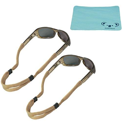 Koala Lifestyle Chums No Tail Cotton Eyewear Retainer Sunglass Strap | Adjustable Eyeglass & Sports Glasses Holder Keeper Lanyard | 2pk Bundle + Cloth, Tan ()