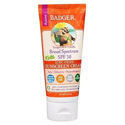 Badger Broad Spectrum SPF 30 Kids Zinc Oxide Sunscreen Cream, Tangerine Vanilla 2.9 fl oz