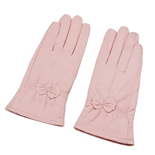 Sandy Ting Simple Sytle Women Winter Warm Lambskin Driving Leather Gloves (Large, Light Pink)