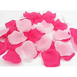 1000PCS Decorative Aisle Runner Flower Girl Basket Petals for Wedding Confetti Cones Engagement Decorations Reception Table Scatter Hot Pink Mixed White 2