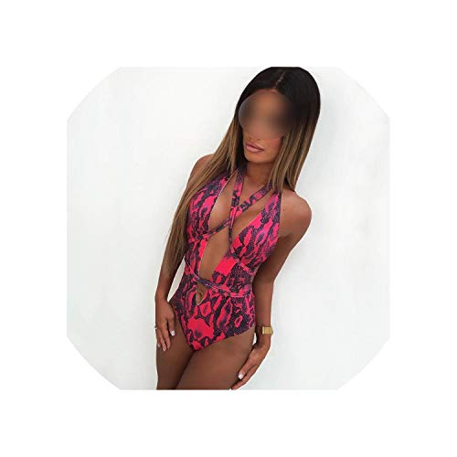 Sexy Swimsuit Snake Print Swimwear Women Thong Halter Bandage Bathing Suit Open Back Beach,hongdi,M