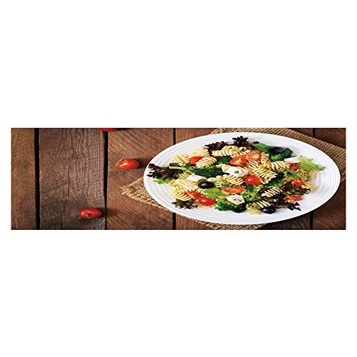 Dragonhome Background Decoration Pasta Salad with Tomato Broccoli Black Olives and Cheese feta top View Home Decoration L35.4 x H19.6