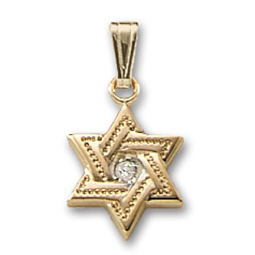 Genuine 14K Yellow Gold Interlocking Star of David Pendant with Diamond JC917 14k White Gold Diamond Interlocking