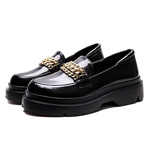 GIY Womens Classic Platform Loafers Round Toe Slip-On Dress Penny Loafer Oxford Metallic Chain Shoes Black pkwND5
