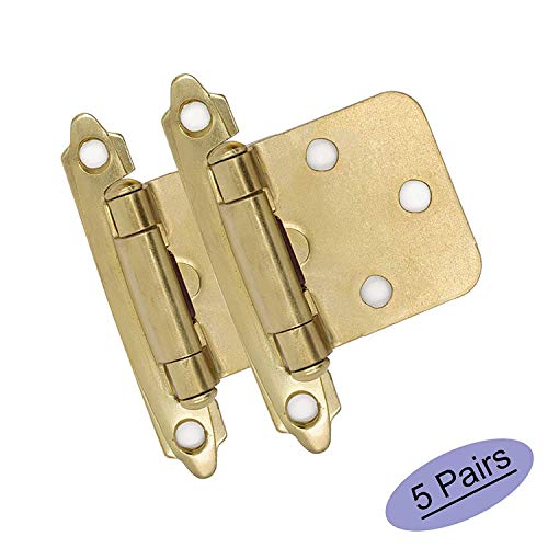 5 Pair (10 Units) goldenwarm Variable Overlay Cabinet Hinges Gold - SCH30BB Brushed Brass Hinges for Kitchen Cabinets Self Closing Door Hinges Face Mount Hinges