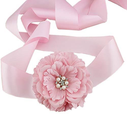 Wedding Bridal Belt Sash Maternity Flower Sash Floral Belt for Dress PTK16-A (B Pink)