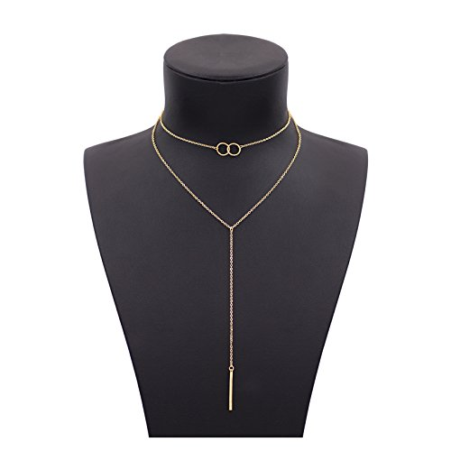 Gudukt Infinity Circle Necklace Layer 14K Gold Fill Chain Bar Pandent Drop Choker Necklace for women
