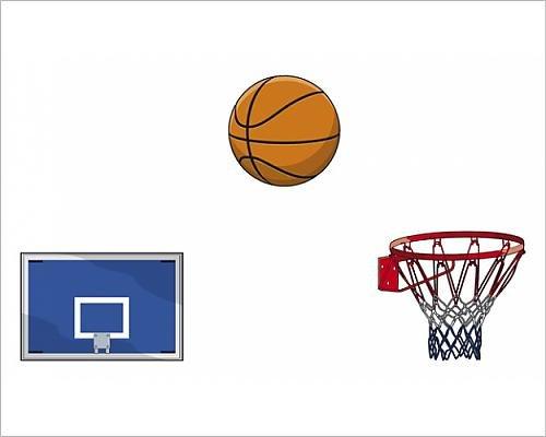 Photographic Print of Basketball backboard, ball, hoop and netting