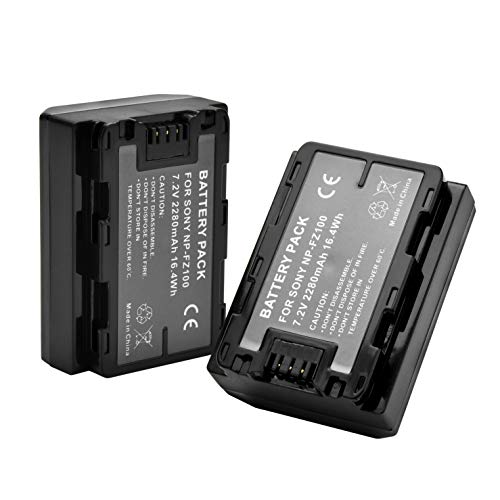 SR NP-FZ100 Battery 2250mAh (2-Pack) for Sony NPFZ100 Z-Series Rechargeable Battery Pack for Alpha A7 III, A7R III, A9, A9R, A9S Digital Cameras... ()
