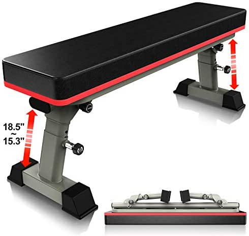 YouTen Adjustable Bench for Body Workout Fitness, 5Positions Flat Bench, Abs Exercise Weight Bench with Steel Frame