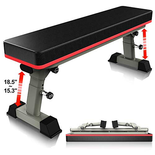 YouTen Adjustable Flat Weight Bench for Body Workout Fitness, 5Positions Abs Exercise Weight Bench with Steel Frame Gray