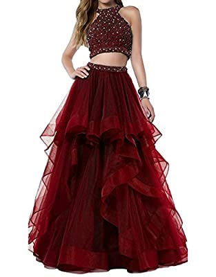 Bonnie Sexy Beaded Two Piece Prom Dresses Long Asymmetric Layered Tulle Formal Prom Ball Gowns BS005