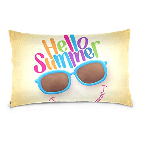 Le Corbusier Sofa Bed - SLHFPX Hello Summer Sunglasses Pillowcase Throw Pillow Covers Cushion Cases Pack of 2 Cotton Decorative Comfortable Soft Solid Rectangular Pillow Cases for Couch Sofa Bed King Size 20 x 36 Inch