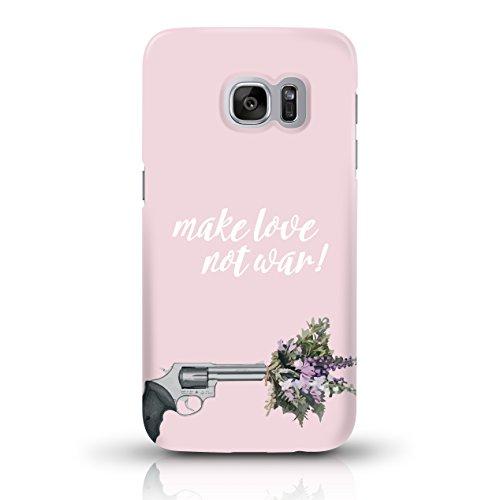 """JUNIWORDS Handyhüllen Slim Case für Samsung Galaxy S7 - Motiv """"make love not war rosa"""" Schutzhülle für Ihr Smartphone"""