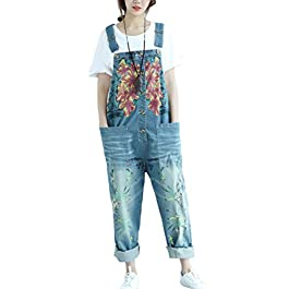 Aeneontrue Women's Casual Floral Denim Jumpsuits Wide Leg Bib Overalls Rompers Pants Front Buttons Open