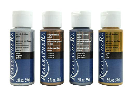 4 Pack of Real Leather Acrylic Leather Paint - 4 x 2-Ounce Bottles. Multiple Color Options (Metallic Colors (Silver/Gold/Bronze/Gunmetal))