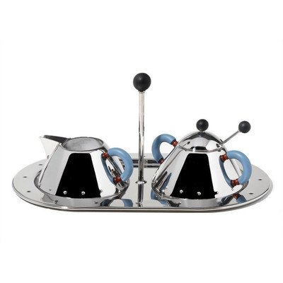 Bundle-75 9096/97 Cream and Sugar Set by Michael Graves, 1988 (4 Pieces) Color: Mirror Polished with Blue Handle