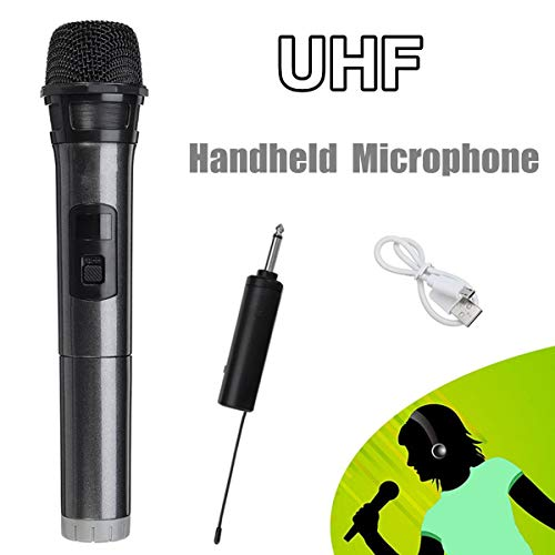 - UHF Professional Wireless Microphone Speaker Handheld Microphone Karaoke Music Player Recorder with Receiver 3.5mm Adapter