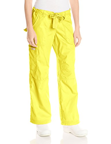 KOI Women's Lindsey Ultra Comfortable Cargo Style Scrub Pants (Petite Sizes), Canary, Large