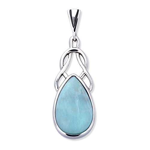 Double Accent Sterling Silver Deep Blue Sea Natural Larimar Stone Celtic Love Knot Pendant For Necklace - Natural Blue Larimar Pendant
