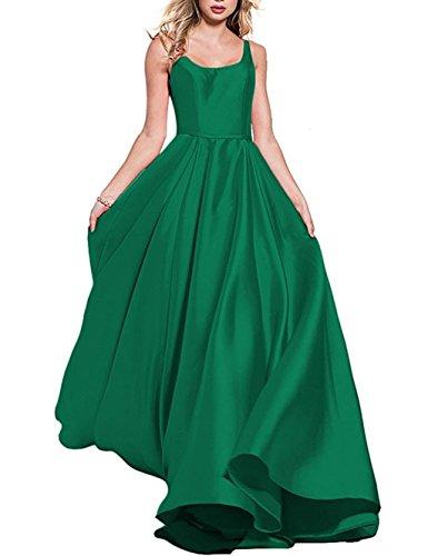 Fanciest 2018 Evening Satin Women's Dark Dresses Long Green Dresses Prom qC16qwB
