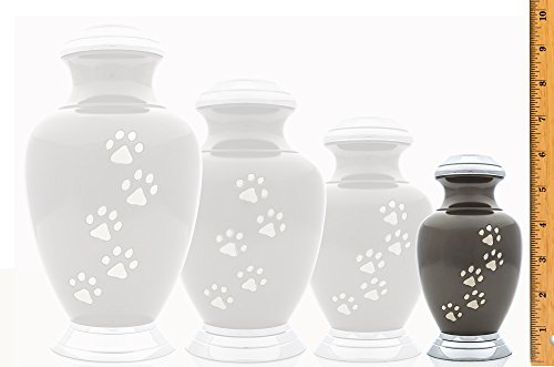 Small-Slate-Arcadia-Series-With-Vertaical-Pewter-Paws-and-Chrome-topbase-Pet-Urn-6-high-for-pets-up-to-25-pounds