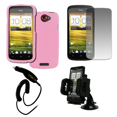 EMPIRE T-Mobile HTC One S Gummierte Case Tasche Hülle Cover (Pink Rosa) + Auto Dashboard Berg + Displayschutzfolie Film + Auto Charger