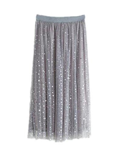 Aoliait Femme Jupe Longue Taille Haute Tulle Jupe Tendance Jupe Plisse Slim Fit Jupe A-Line ElGant Femelle Skirt Beau Jupe Gray