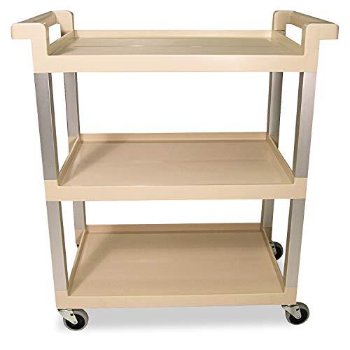 (Rubbermaid 9T6571BG Three-Shelf Service Cart w/Brushed Aluminum Upright, 16-1/4 x 31-1/2 x 36, Beige)