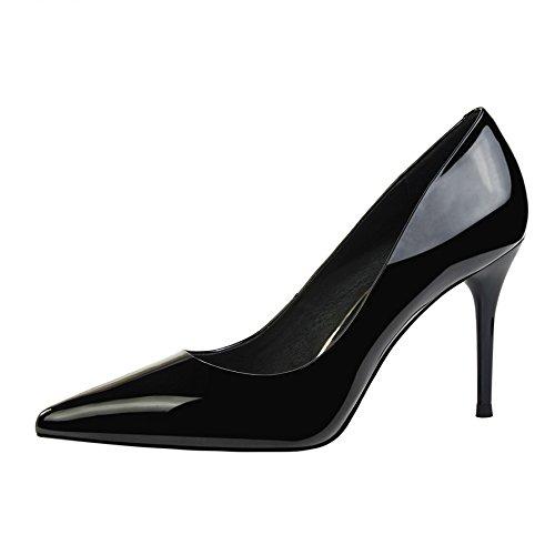 Zapatos Cercanías Señalaron Negro Simple Sandalias Zapatos los y Negros Zapatos de de Xue de Baile de Elegante Zapatos Zapatos con Alto Solo un Qiqi Trabajo Línea Chica Tribunal y versátil Tacón PwAxxqnO1