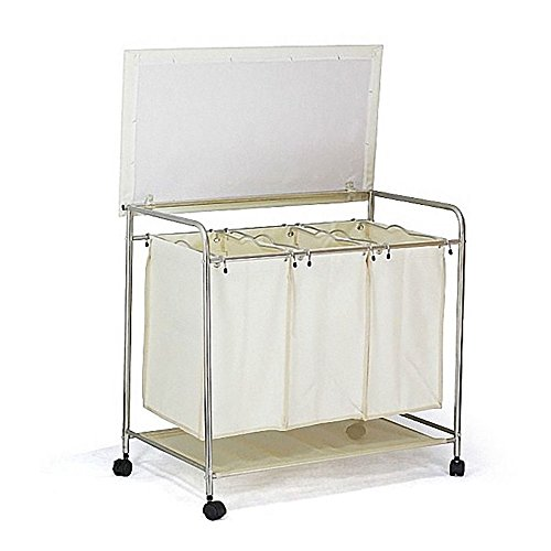 Nova Furniture Group Triple Sorter Laundry Cart Hamper with Ironing Board