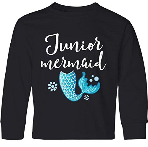 Inktastic - Junior Mermaid Girls Youth Long Sleeve T-Shirt Youth X-Large Black (Tween Outfits)