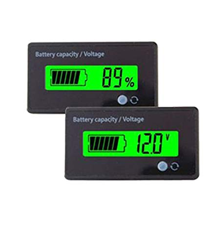 utipower Multifunctional 12V LCD Battery Capacity Monitor Gauge Meter for Lead-Acid Battery Motorcycle Golf Cart Car, Green