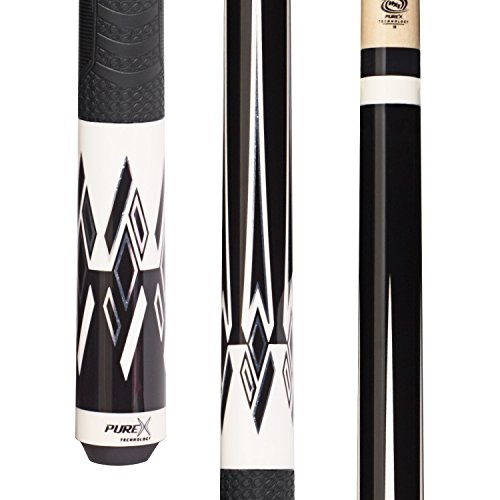 Purex HXT64 Midnight Black/White Divided Diamonds Technology Pool Cue with Mz Multi-Zone Grip, 18-Ounce