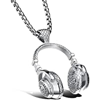 Sunward Stainless Steel DJ Headset Music Earphone Headphone Pendant Necklace for Men Free Chain (Silver)