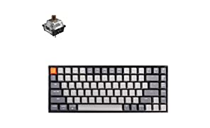Keychron K2 Bluetooth Wireless Mechanical Keyboard with Gateron Brown Switch/White LED Backlit/USB C/Anti Ghosting/N-Key Rollover/Compact Design, 84 Key Tenkeyless Keyboard for Mac Windows