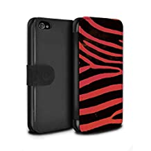 STUFF4 PU Leather Wallet Flip Case/Cover for Apple iPhone 4/4S / Red Design / Zebra Animal Skin/Print Collection