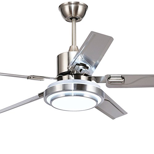 52 Inch Modern Ceiling Fan Light with Remote Control 5 Stainless Steel Blades 3-color dimming Indoor Mute Energy Saving Fan Chandelier for Dining/Living Room Bedroom