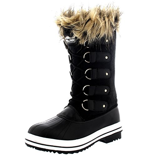 Womens Lace Up Rubber Sole Tall Winter Snow Rain Shoe Boots - 9 -