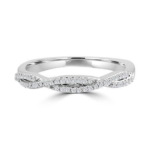 1/10ct Diamond 10k White Gold Infinity Twist Wedding Anniversary Band ()