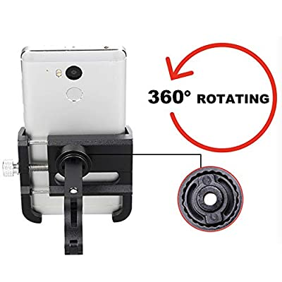 Bicycle & Motorcycle Cell Phone Mount, Aluminum Alloy Bike Mobile Phone Holder with 360° Rotation Adjustable for Mountain Bike, Road Bicycle, Motobike GPS Mount 4 to 6.2 Inch Phone- Red