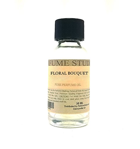 Floral Bouquet Fragrance Oil for Perfume Making, Personal Body Oil, Soap, Candle Making & Incense; Splash-On Clear Glass Bottle. Premium Quality Undiluted & Alcohol Free (1oz, Floral Bouquet)