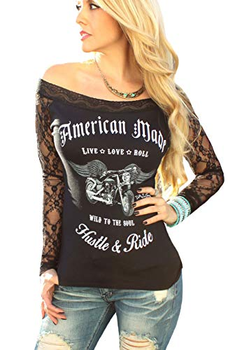 Sexy Off Shoulder Lace Biker Motorcycle Angel Wing Top ~Black (S, American Made) ()