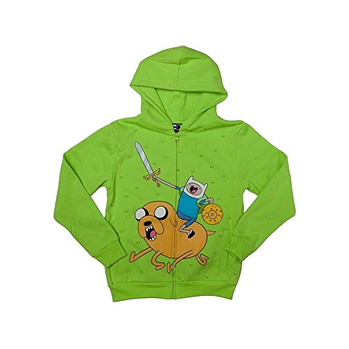 Adventure Time Ice King Zap Youth Zip Hoodie, Kelly Green, Small (6/8)